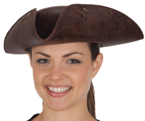 26014 Distressed Faux Leather Tricorn