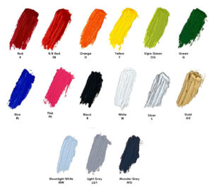 Rainbow Colors, Black, White, Shades of Grey, Silver and Gold
